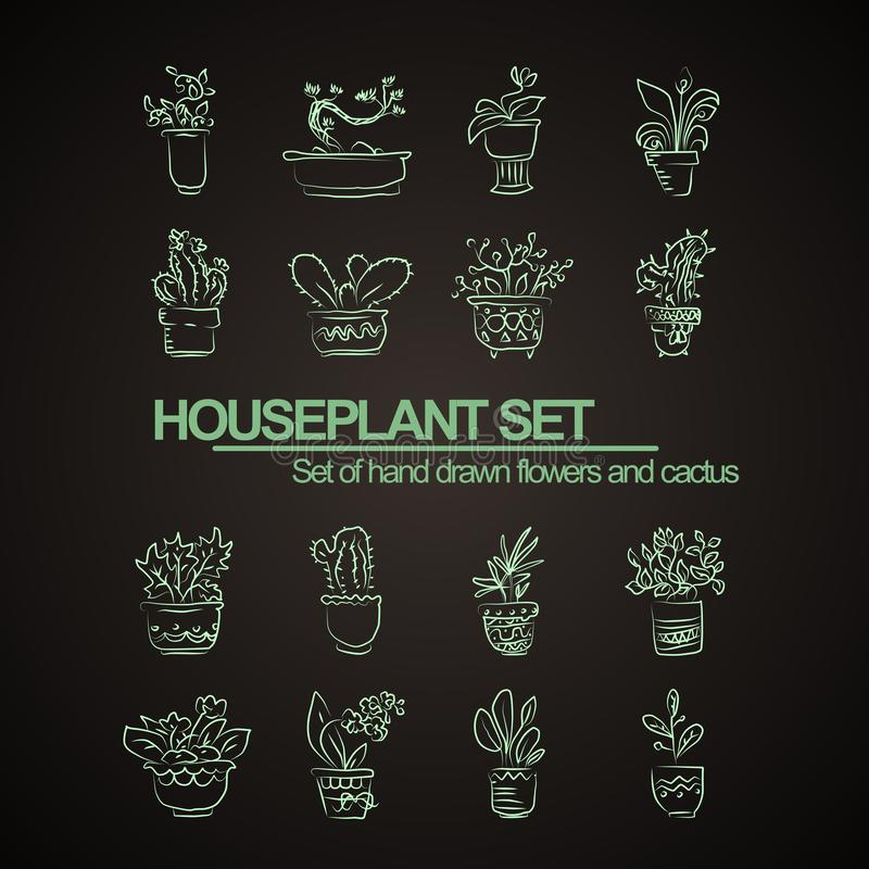 Style hand drawn set of houseplant flowers and cactus. Vector set of isolated plants. In pots stock illustration