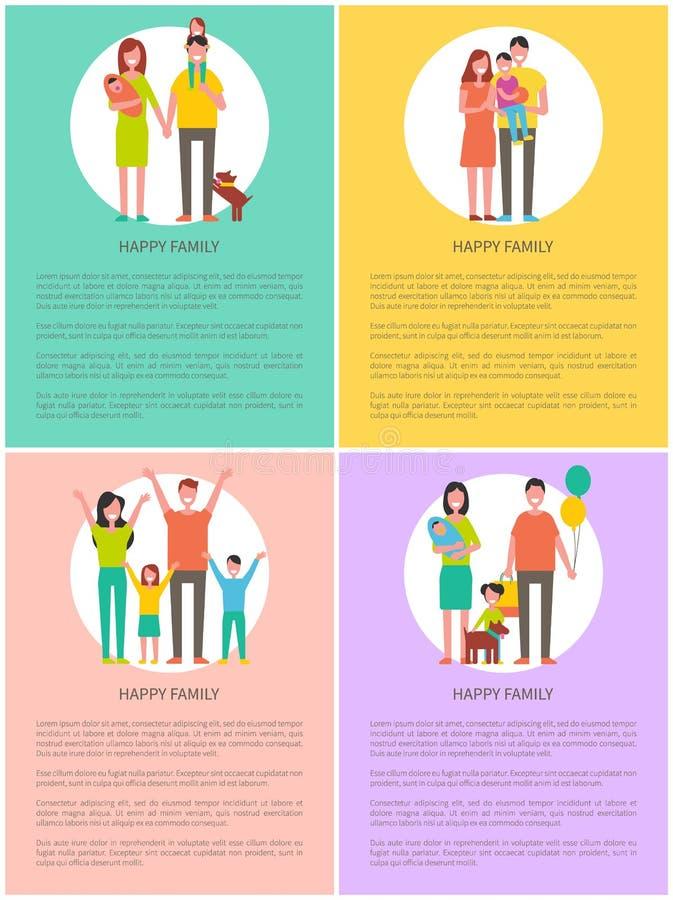 Style heureux de bande dessinée de bannière de vecteur d'ensemble de famille illustration de vecteur