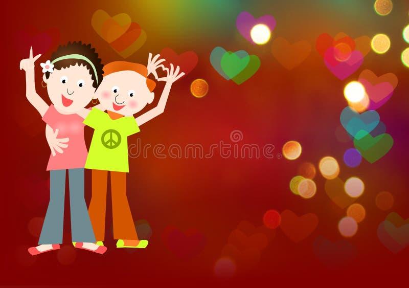 Style hippie : amour, couple de signe de paix illustration stock