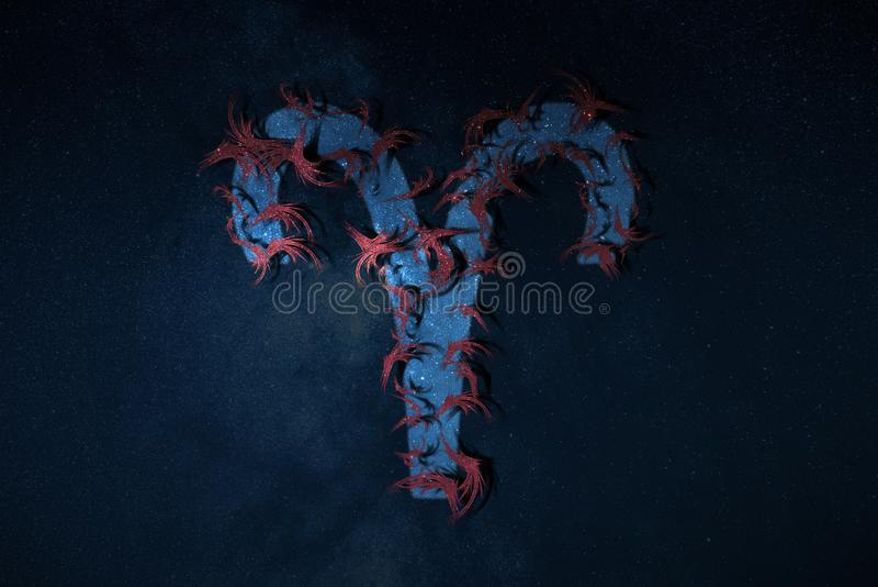 Style hippie d'Aries Zodiac Sign illustration de vecteur