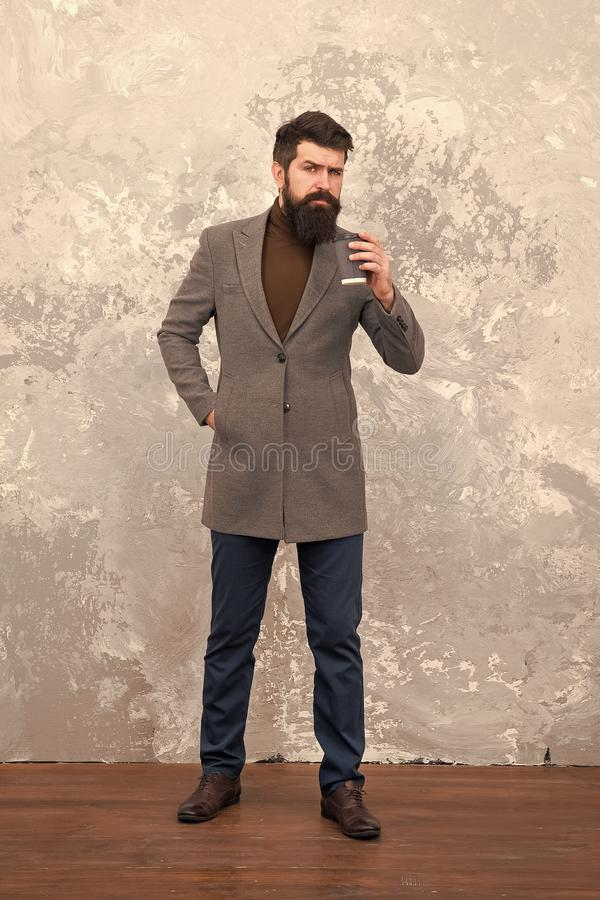 Style and intelligence. Menswear and fashion concept. Guy brutal fashion model. Business people fashion style. Casual. Clothes for office. Man handsome bearded stock photo