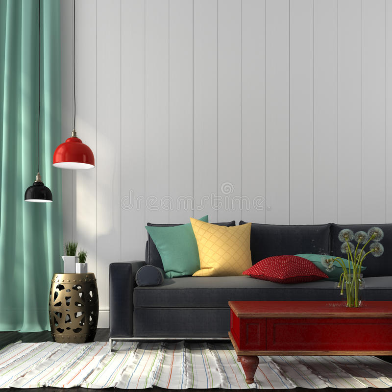 Style interior with dark blue sofa and a red table vector illustration