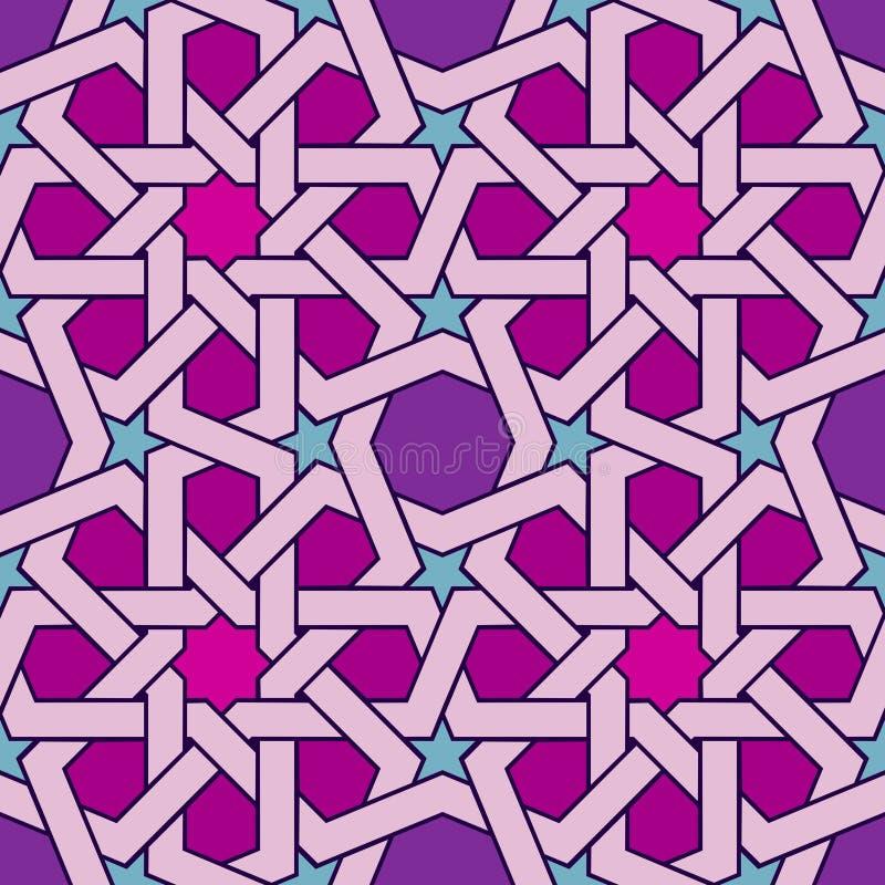 Style islamique d'ornement géométrique sans couture de fantaisie de couleur illustration libre de droits