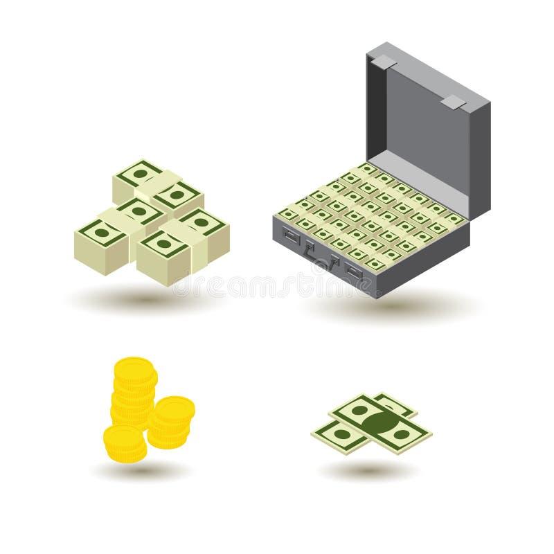 Style isométrique d'icônes d'argent illustration de vecteur