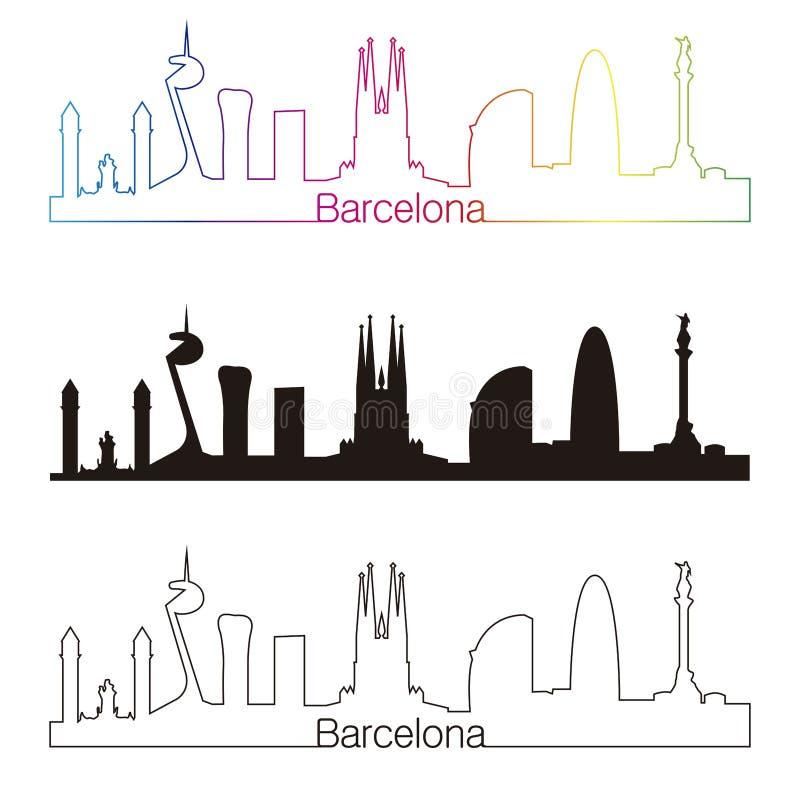 Style linéaire d'horizon de Barcelone avec l'arc-en-ciel illustration stock