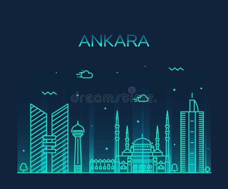 Style linéaire d'illustration de vecteur d'horizon d'Ankara illustration stock