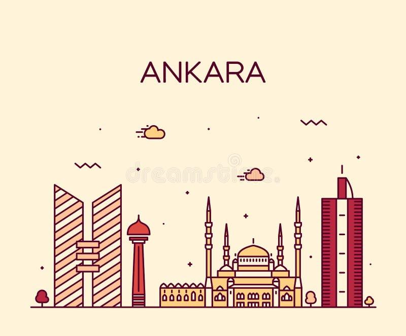 Style linéaire d'illustration de vecteur d'horizon d'Ankara illustration de vecteur