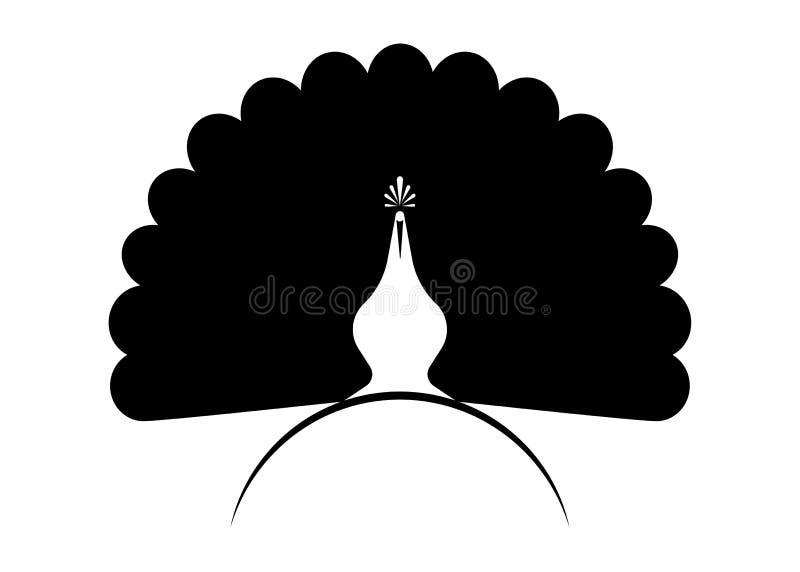 Style linéaire de calibre de vecteur de conception de logo de silhouette d'icône de paon Label de paon d'oiseau d'ensemble avec l illustration libre de droits