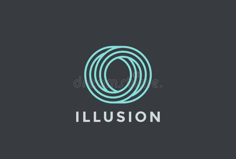 Style linéaire de forme de logo de lettre d'O de conception de calibre infini de vecteur illustration stock