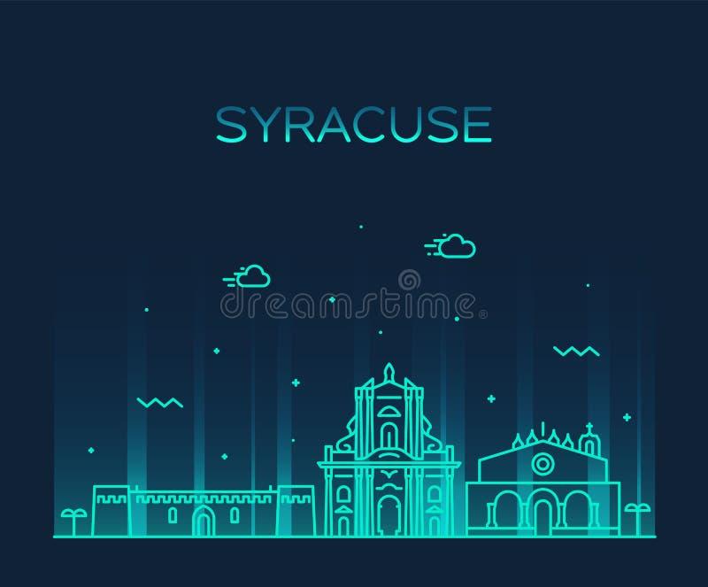 Style linéaire de vecteur de la Sicile Italie d'horizon de Syracuse illustration stock