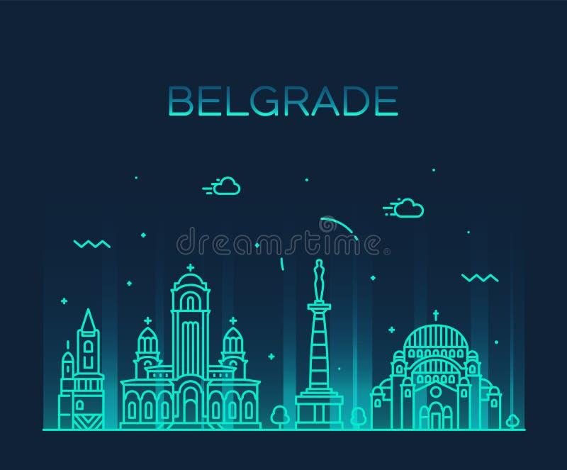 Style linéaire de ville de vecteur d'horizon de Belgrade Serbie illustration stock
