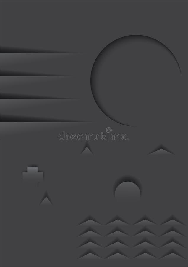 Style minimal de coupe de papier de forme géométrique illustration libre de droits