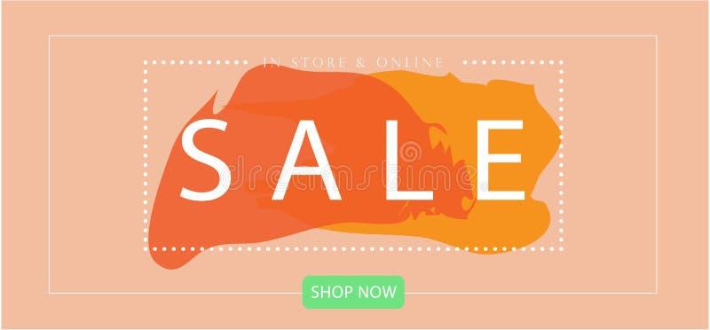 Style minimal de débarquement de bannière de Web de page de VENTE avec le calibre de vecteur de couleur en pastel photos libres de droits