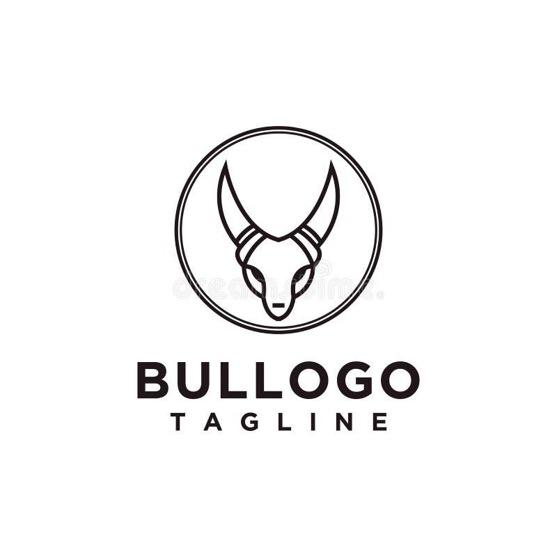 Style minimaliste simple de conception de logo de Taureau pour la marque d'affaires ou de société illustration stock