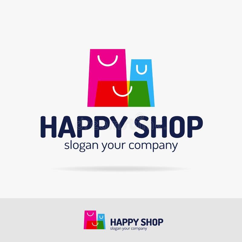 Style moderne coloré réglé de logo de paniers pour le magasin, emblème de boutique illustration libre de droits