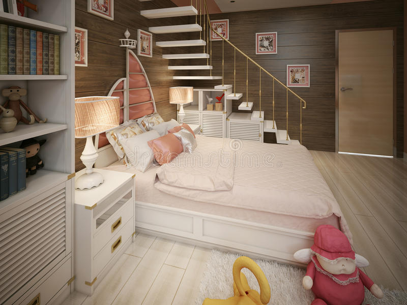 Style moderne de chambre à coucher de filles photos libres de droits