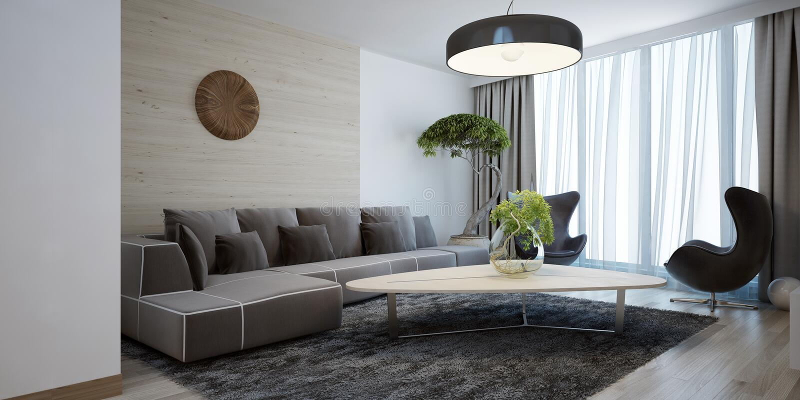 style moderne de salon lumineux photo stock image du confort livres 59223032. Black Bedroom Furniture Sets. Home Design Ideas
