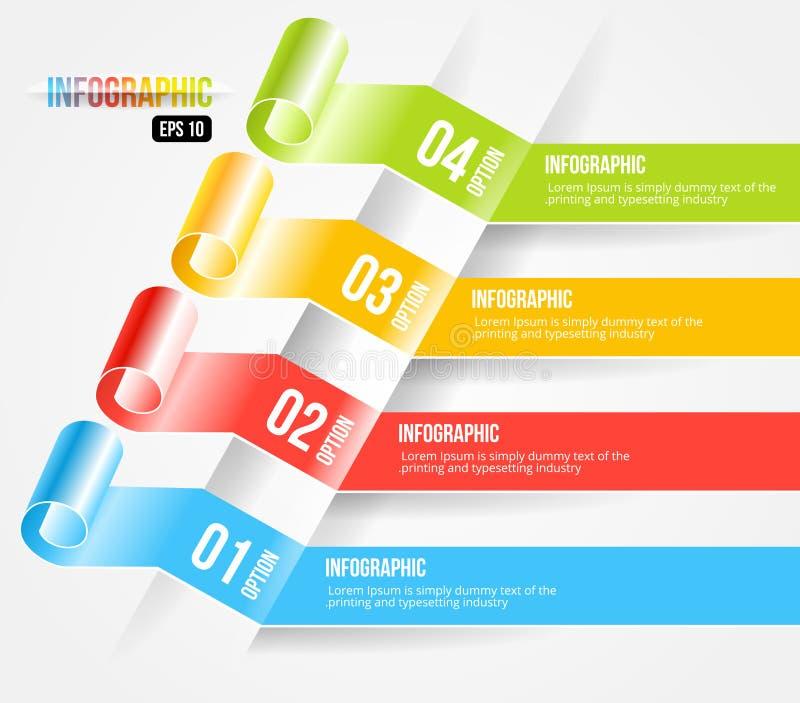 Style moderne Infographic d'origami et options Banne illustration libre de droits