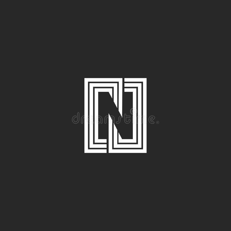 Style négatif de monogramme de l'espace de logo de la lettre N Lignes créatives graphiques symbole capital d'élément de conceptio illustration stock