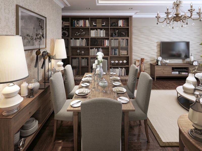 Style néoclassique de salle à manger image libre de droits