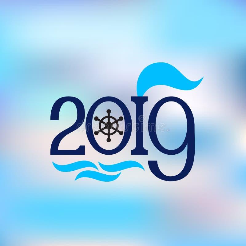 Style nautique de bannière abstraite de la bonne année 2019 photos stock