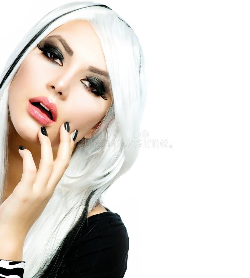 Style noir et blanc de fille de mode photographie stock libre de droits