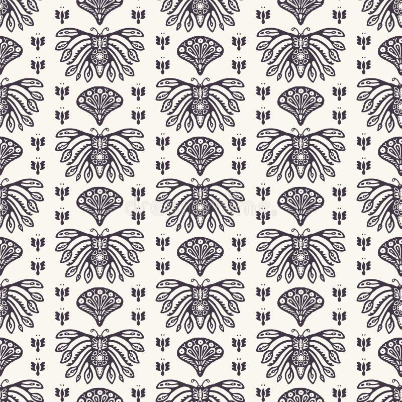 Style ornemental de Jugendstil de motif de papillon d'Art Nouveau Dirigez la configuration sans joint Échantillon de textile de d illustration stock