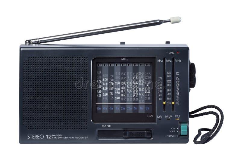 Style par radio du récepteur 80s du monde d'isolement sur le fond blanc images libres de droits
