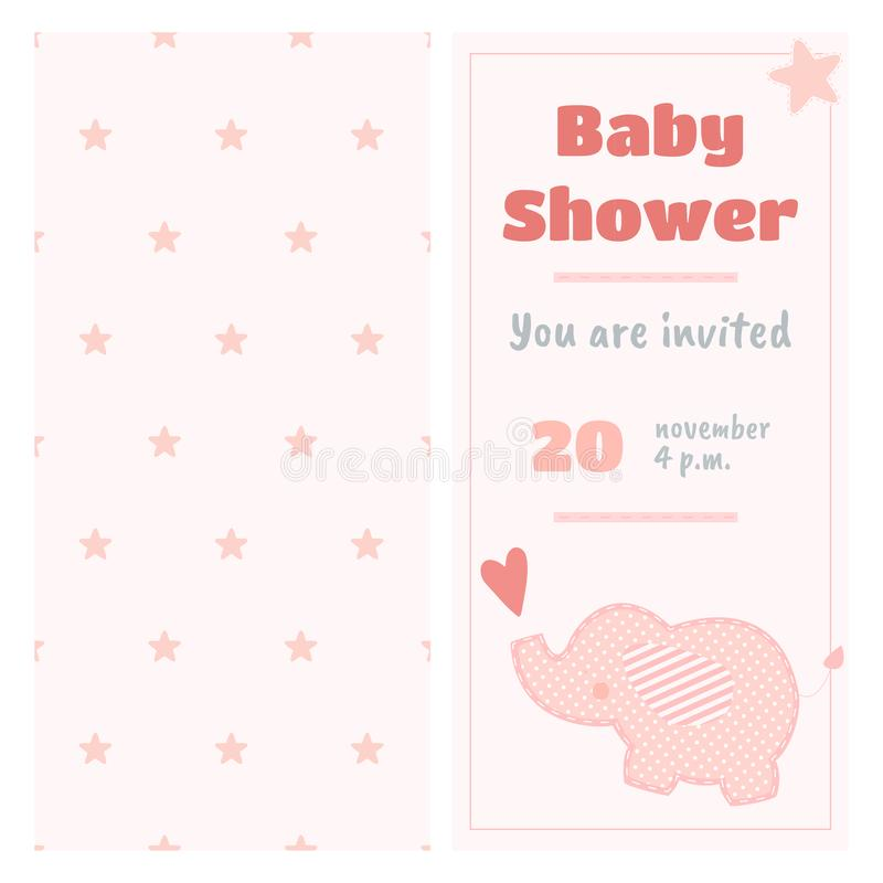 Baby shower invitation with baby elephant stock illustration