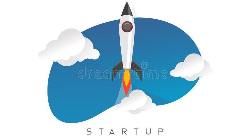 Style plat asymétrique de lancement de démarrage de vaisseau spatial illustration de vecteur