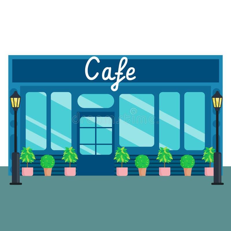 Style plat avant de boutiques et de magasins de Caffee Illustration de vecteur illustration libre de droits