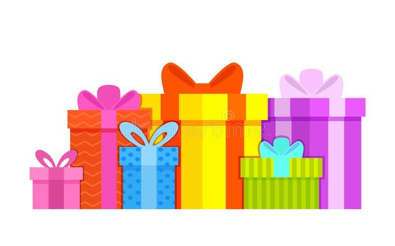 Style plat coloré de boîte-cadeau sur le fond blanc avec des arcs Grande pile des bo?te-cadeau envelopp?s color?s illustration stock