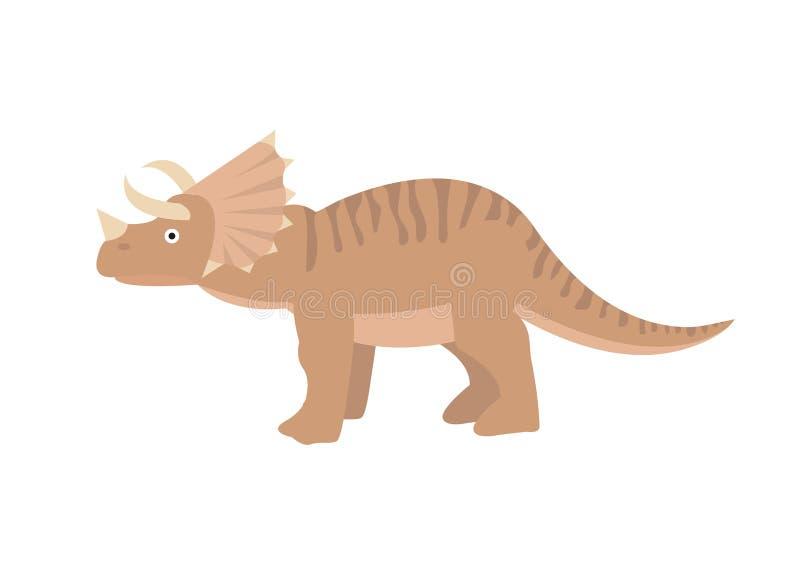 Style plat d'icône de Triceratops D'isolement sur le fond blanc Illustration de vecteur illustration de vecteur
