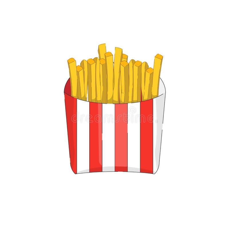 Style plat d'icône de vecteur de pommes frites d'isolement sur le fond blanc photo libre de droits