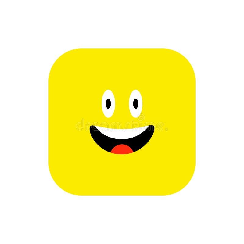 Style plat d'icône heureuse d'Emoji Place arrondie par émoticône mignonne au jour de sourire du monde Gai, Lol, appréciant le vis illustration de vecteur