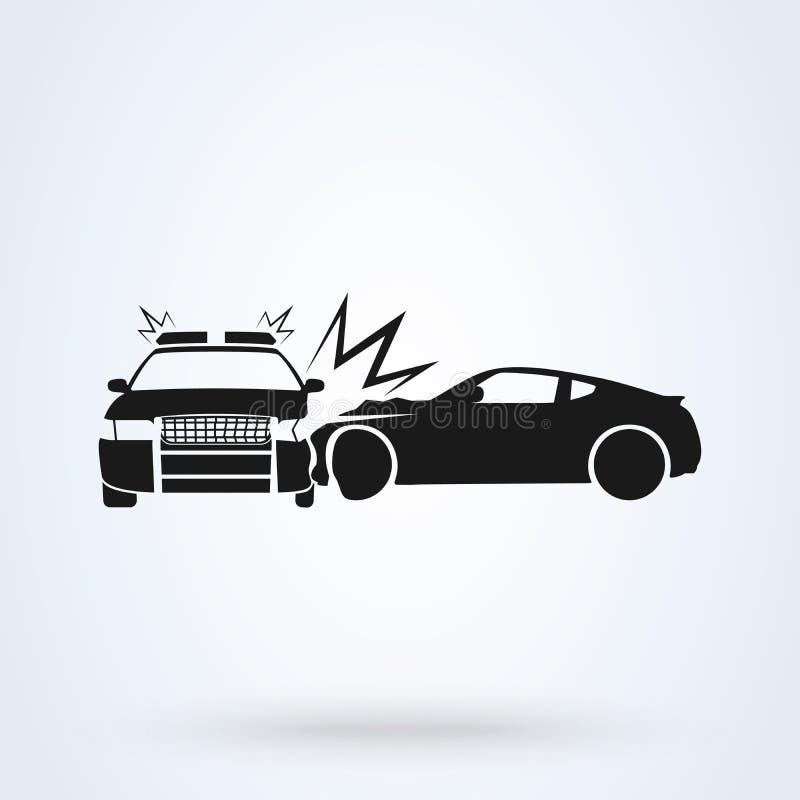 Style plat d'icône d'illustration de vecteur de voiture de police d'accident de voiture Vue de c?t? d'accident automobile illustration stock