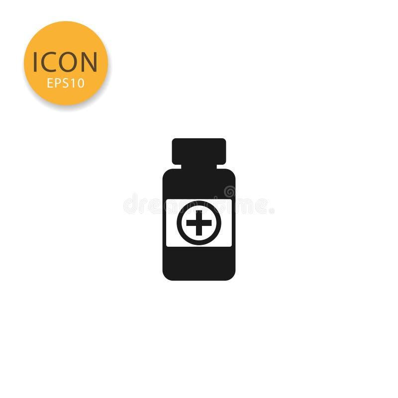Style plat d'isolement par icône de bouteille de pilules de médecine illustration libre de droits
