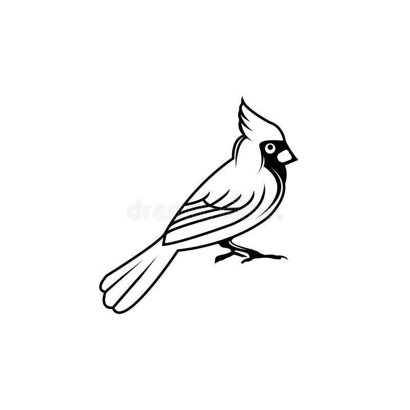 Style plat d'oiseau de vecteur d'illustration de silhouette cardinale de noir images stock
