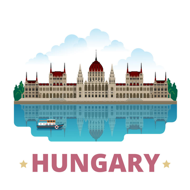 Style plat de bande dessinée de calibre de conception de pays de la Hongrie illustration libre de droits