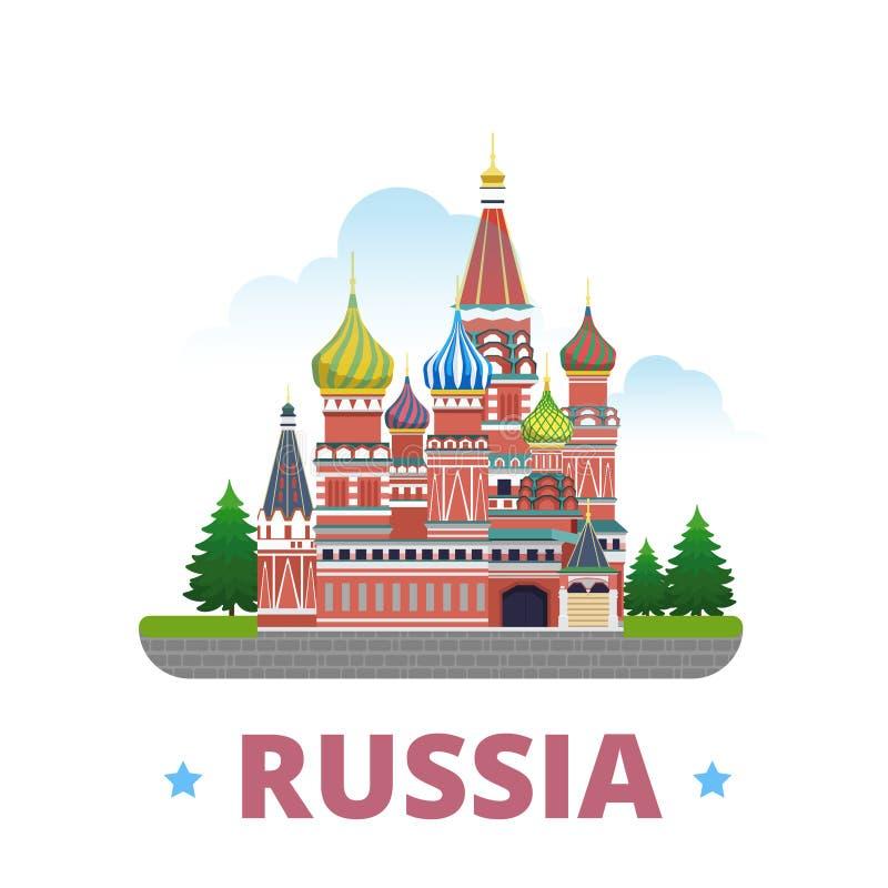 Style plat de bande dessinée de calibre de conception de pays de la Russie illustration libre de droits