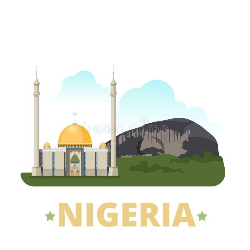 Style plat de bande dessinée de calibre de conception de pays du Nigéria illustration libre de droits
