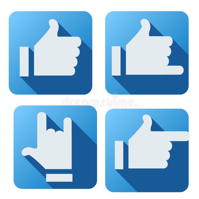 Style plat de bouton similaire pour la mise en réseau sociale illustration libre de droits