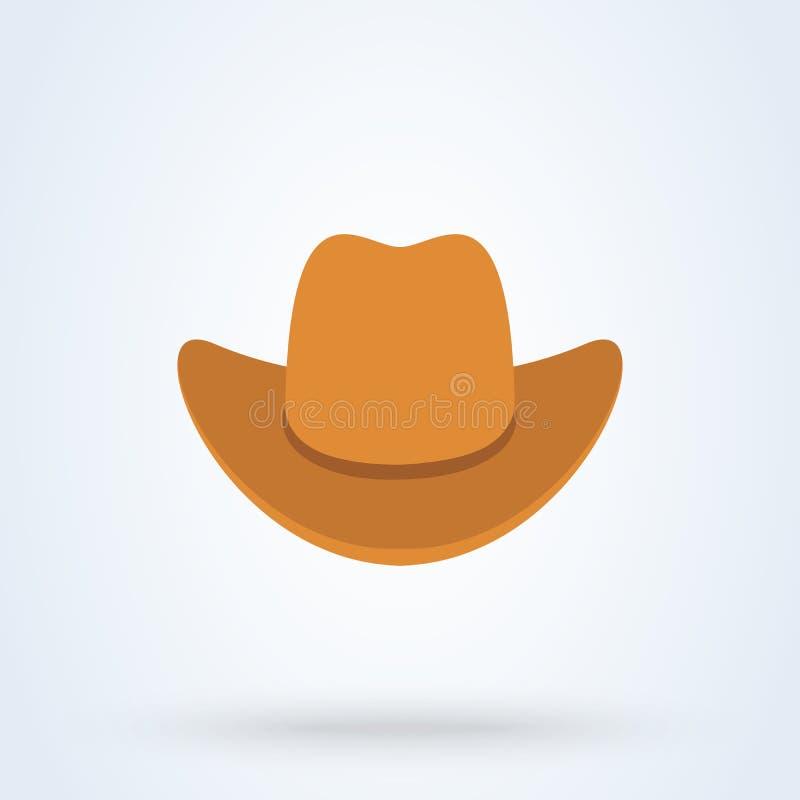 Style plat de chapeau de cowboy Graphisme d'isolement sur le fond blanc Illustration de vecteur illustration de vecteur