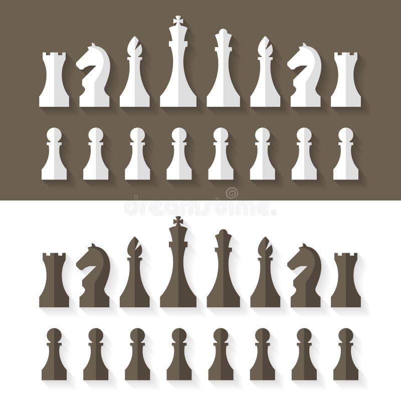 Style plat de conception de pièces d'échecs illustration de vecteur