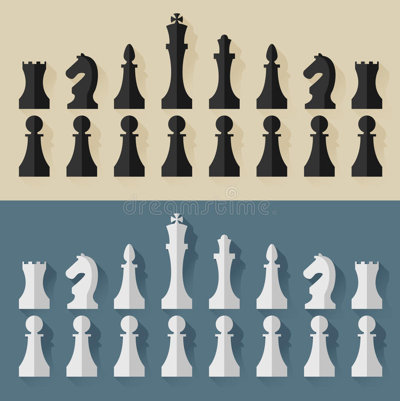 Style plat de conception de pièces d'échecs Vecteur illustration de vecteur