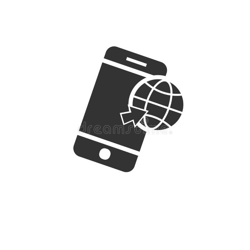 Style plat de la terre de Smartphone de vecteur de noir simple moderne d'icône Conception Symbole Illustrateur de vecteur Sur le  illustration libre de droits