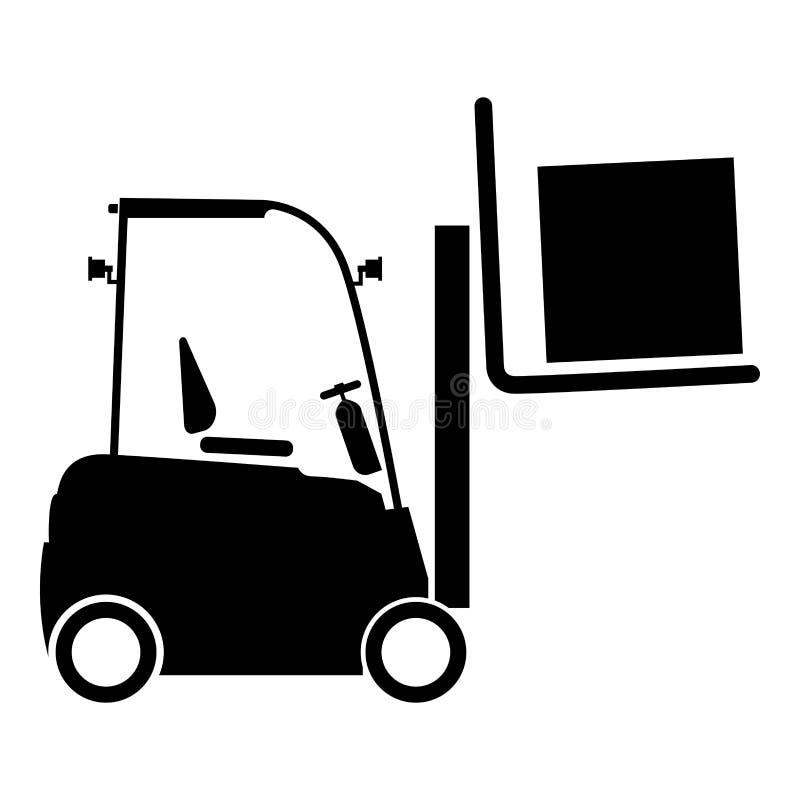 Style plat de levage d'illustration de vecteur de couleur de noir d'icône de concept de transport de cargaison de machine d'ascen illustration de vecteur