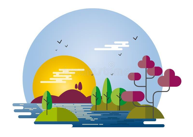 Style plat de paysage illustration de vecteur