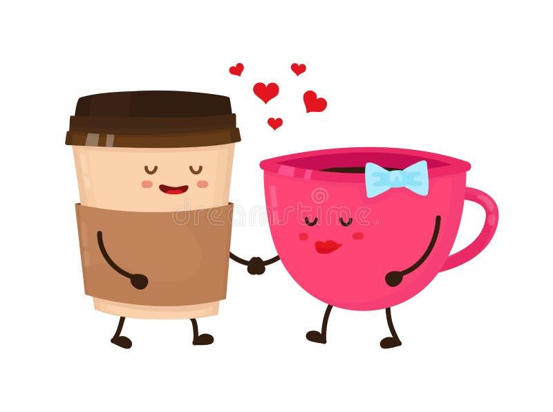 Style plat de vecteur de flirt d'amour de tasses de café illustration libre de droits