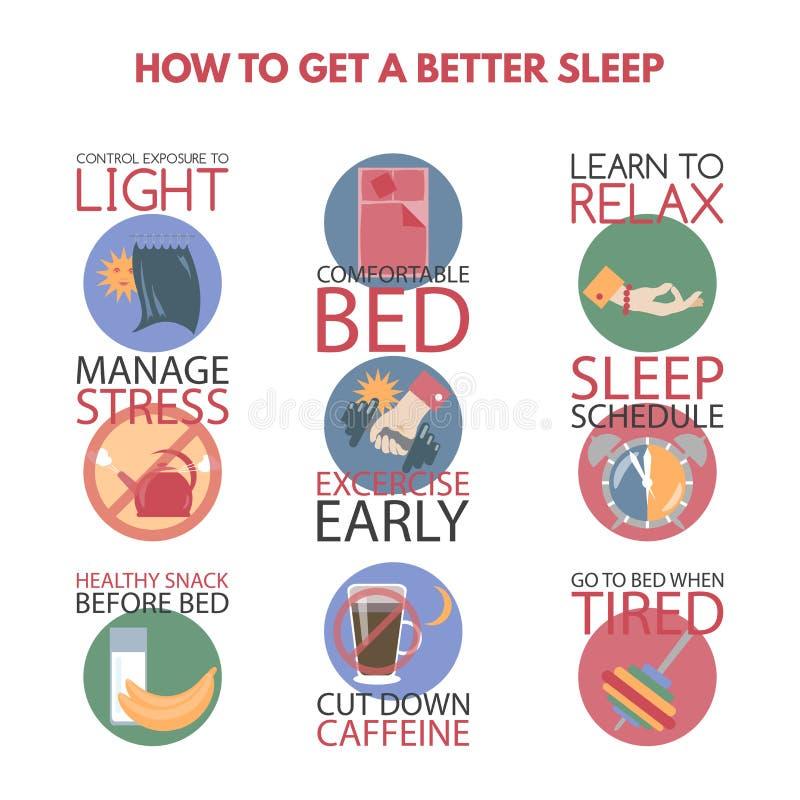 Style plat moderne infographic sur obtenir un meilleur sommeil illustration stock